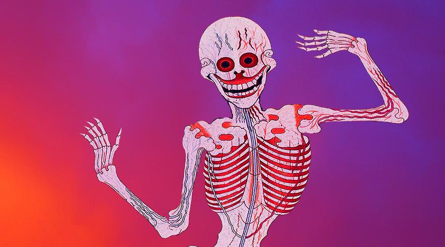 skelett som ler